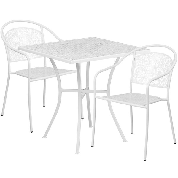Flash Furniture White 28 Square Patio 3pc Outdoor Dining Set FLF-CO-28SQ-03CHR2-WH-GG