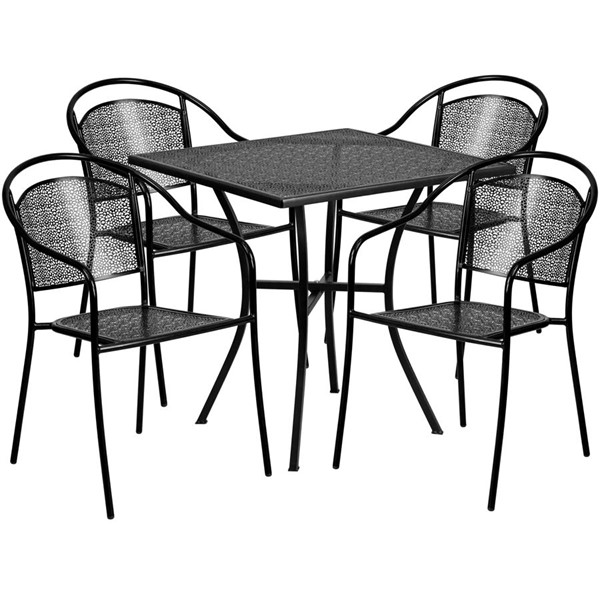 Flash Furniture Black 28 Square Patio 4pc Outdoor Dining Sets FLF-CO-28SQ-03CHR4-BK-GG