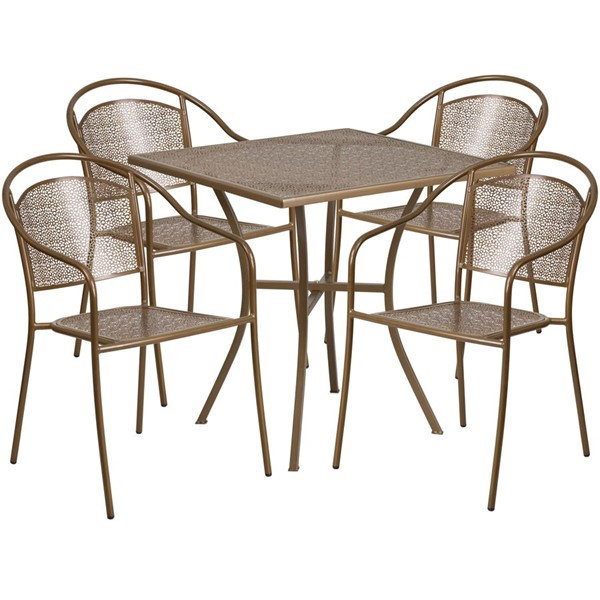 Flash Furniture Gold 28 Square Patio 4pc Outdoor Dining Sets FLF-CO-28SQ-03CHR4-GD-GG