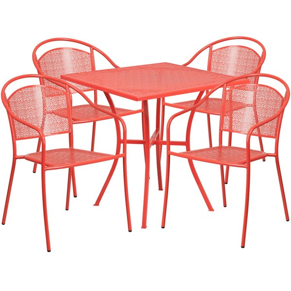 Flash Furniture Coral 28 Square Patio 4pc Outdoor Dining Sets FLF-CO-28SQ-03CHR4-RED-GG