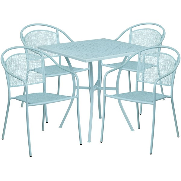 Flash Furniture Sky Blue 28 Square Patio 4pc Outdoor Dining Sets FLF-CO-28SQ-03CHR4-SKY-GG