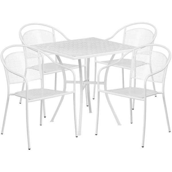Flash Furniture White 28 Square Patio 4pc Outdoor Dining Sets FLF-CO-28SQ-03CHR4-WH-GG