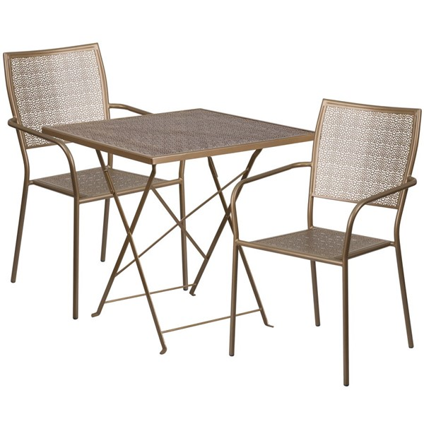 Flash Furniture Gold 28 Square Fold Patio Set FLF-CO-28SQF-02CHR2-GD-GG