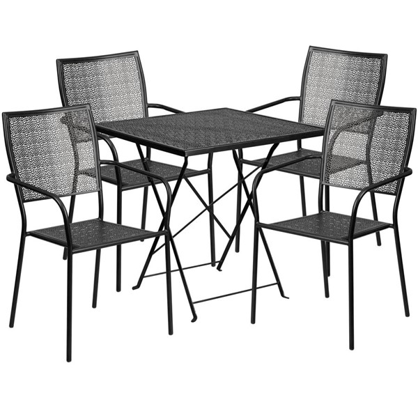 Flash Furniture Black 28 Square Fold Patio 4pc Outdoor Dining Set FLF-CO-28SQF-02CHR4-BK-GG