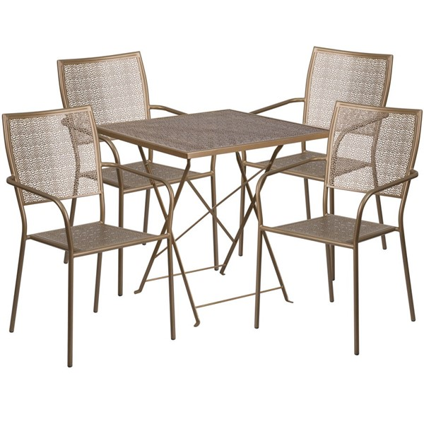 Flash Furniture Gold 28 Square Fold Patio 4pc Outdoor Dining Set FLF-CO-28SQF-02CHR4-GD-GG