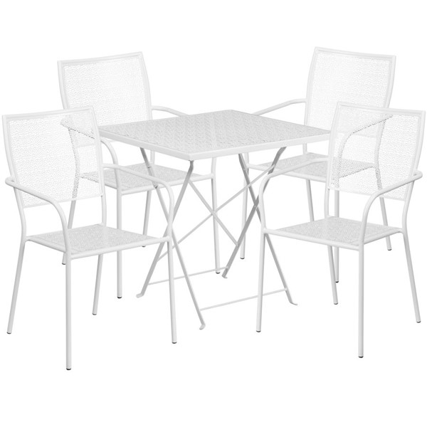 Flash Furniture White 28 Square Fold Patio 4pc Outdoor Dining Set FLF-CO-28SQF-02CHR4-WH-GG