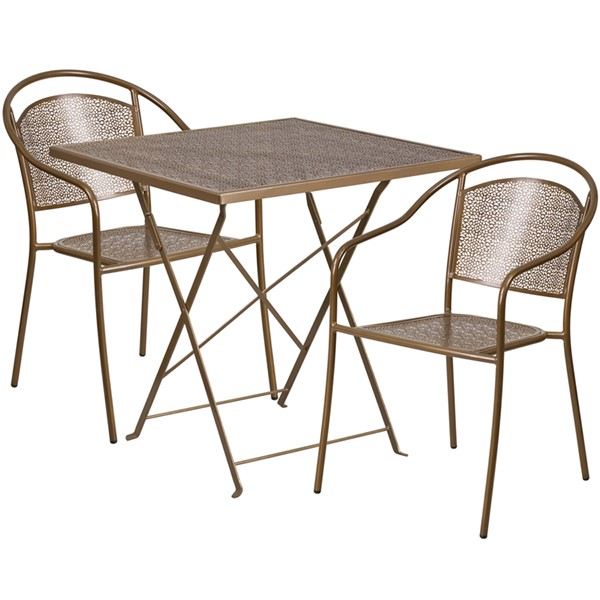 Flash Furniture Gold 28 Square Fold Patio 3pc Outdoor Dining Set FLF-CO-28SQF-03CHR2-GD-GG