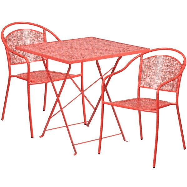 Flash Furniture Coral 28 Square Fold Patio 3pc Outdoor Dining Set FLF-CO-28SQF-03CHR2-RED-GG