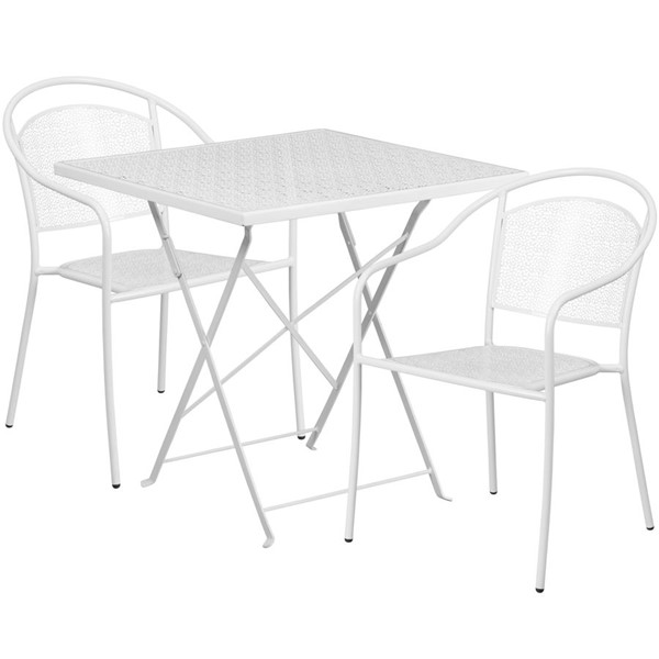Flash Furniture White 28 Square Fold Patio 3pc Outdoor Dining Set FLF-CO-28SQF-03CHR2-WH-GG