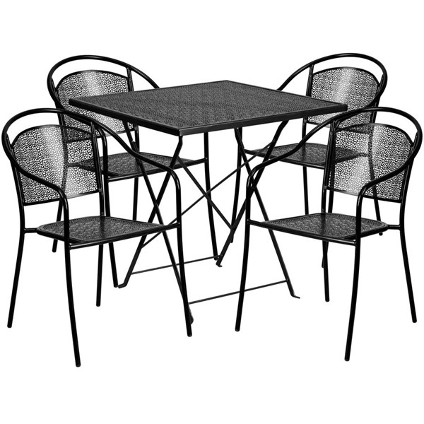 Flash Furniture Black 28 Square Fold 4pc Outdoor Dining Set FLF-CO-28SQF-03CHR4-BK-GG