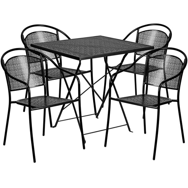 Flash Furniture 28 Square Fold 4pc Outdoor Dining Set FLF-CO-28SQF-03CHR4-GG-OUT-DR-VAR