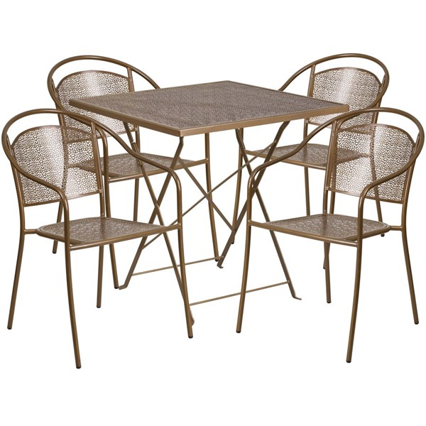 Flash Furniture Gold 28 Square Fold 4pc Outdoor Dining Set FLF-CO-28SQF-03CHR4-GD-GG