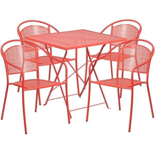 Flash Furniture Coral 28 Square Fold 4pc Outdoor Dining Set FLF-CO-28SQF-03CHR4-RED-GG