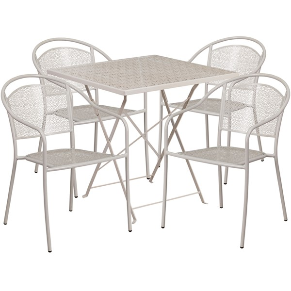 Flash Furniture Light Gray 28 Square Fold 4pc Outdoor Dining Set FLF-CO-28SQF-03CHR4-SIL-GG