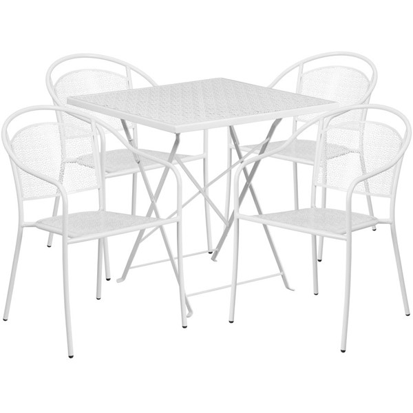 Flash Furniture White 28 Square Fold 4pc Outdoor Dining Set FLF-CO-28SQF-03CHR4-WH-GG