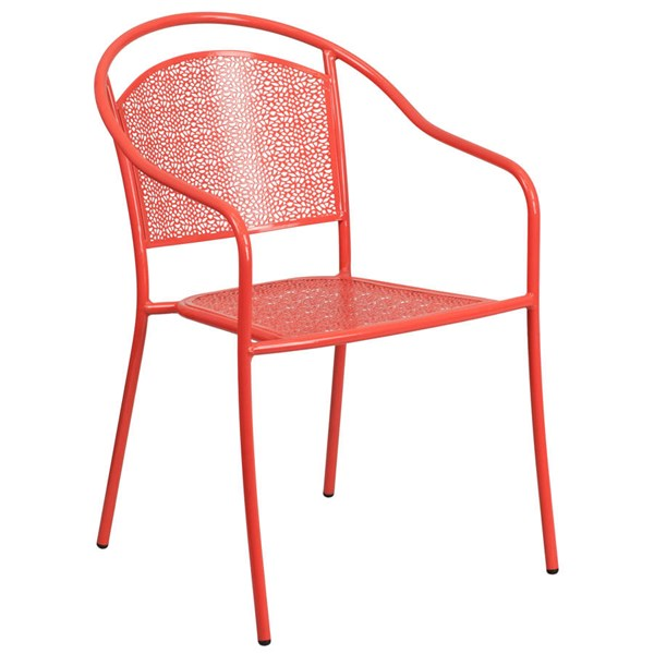 Flash Furniture Coral Indoor Outdoor Patio Arm Chair with Round Back FLF-CO-3-RED-GG