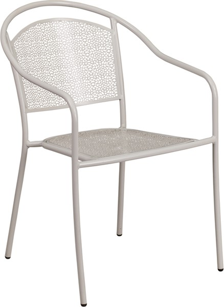 Flash Furniture Light Gray Round Back Patio Chair FLF-CO-3-SIL-GG