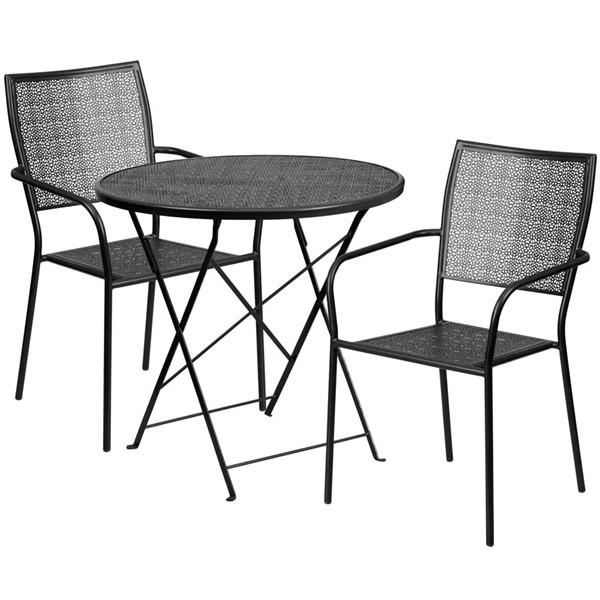 Flash Furniture Black 30 Round Fold Patio Set FLF-CO-30RDF-02CHR2-BK-GG