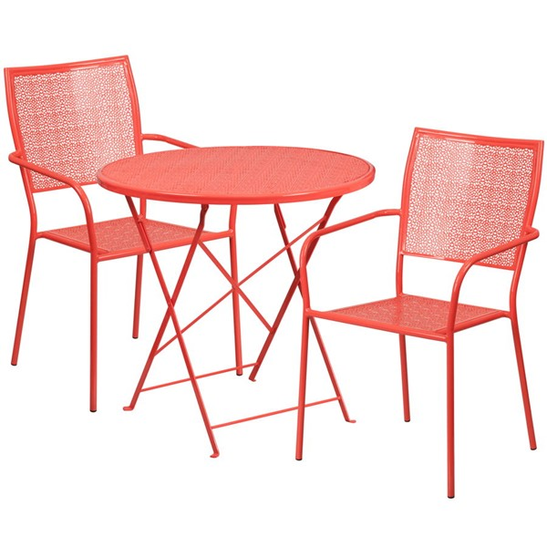 Flash Furniture Coral 30 Round Fold Patio Set FLF-CO-30RDF-02CHR2-RED-GG