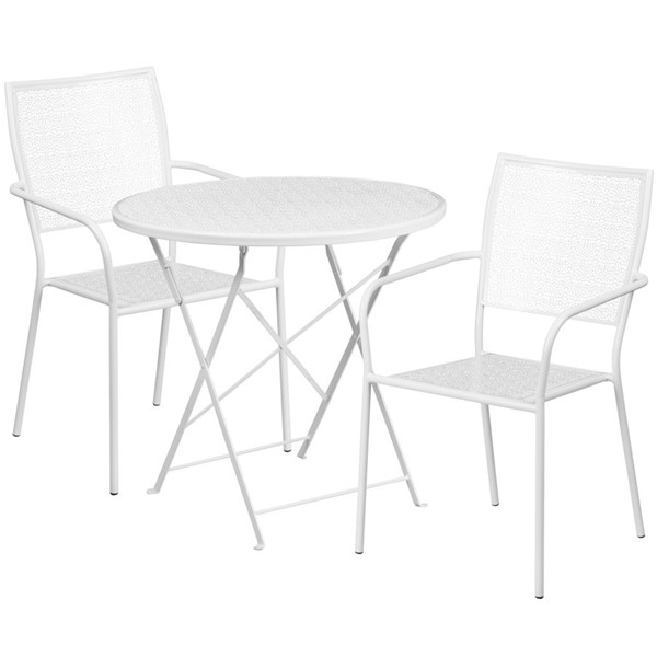 Flash Furniture White 30 Round Fold Patio Set FLF-CO-30RDF-02CHR2-WH-GG