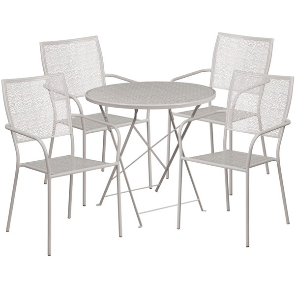 Flash Furniture Light Gray 30 Round 5pc Outdoor Dining Sets FLF-CO-30RDF-02CHR4-SIL-GG