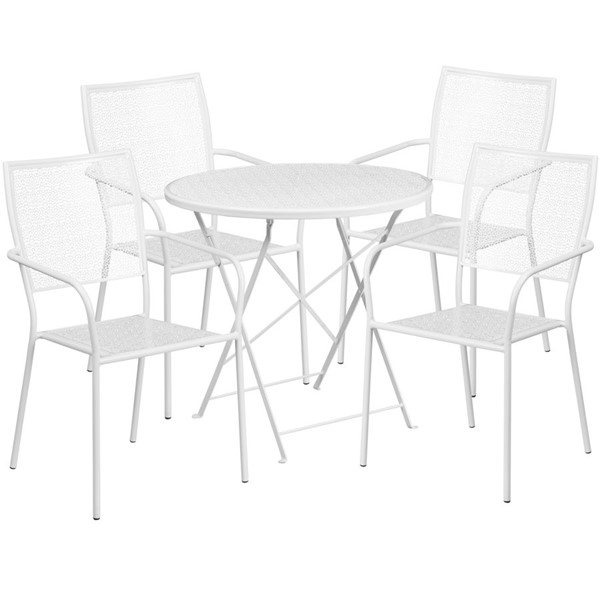 Flash Furniture White 30 Round 5pc Outdoor Dining Sets FLF-CO-30RDF-02CHR4-WH-GG