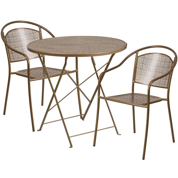 Flash Furniture Gold 30 Round Fold Patio 3pc Outdoor Dining Sets FLF-CO-30RDF-03CHR2-GD-GG