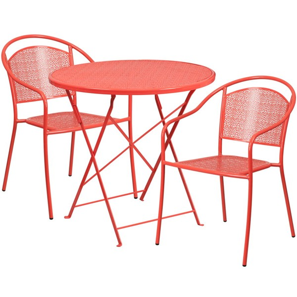 Flash Furniture Coral 30 Round Fold Patio 3pc Outdoor Dining Sets FLF-CO-30RDF-03CHR2-RED-GG
