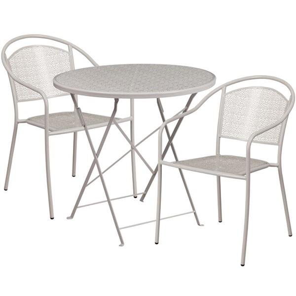 Flash Furniture Light Gray 30 Round Fold Patio 3pc Outdoor Dining Sets FLF-CO-30RDF-03CHR2-SIL-GG
