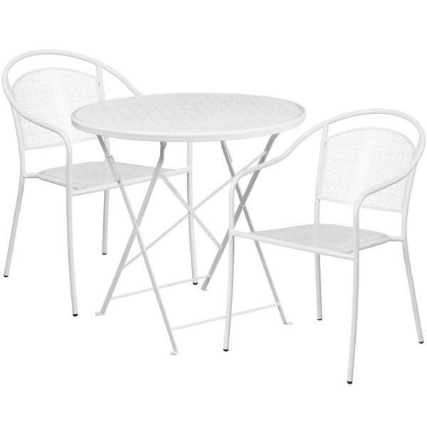 Flash Furniture White 30 Round Fold Patio 3pc Outdoor Dining Sets FLF-CO-30RDF-03CHR2-WH-GG