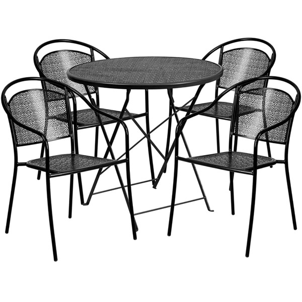 Flash Furniture 30 Round 5pc Outdoor Dining Set FLF-CO-30RDF-03CHR4-GG-OUT-DR-VAR