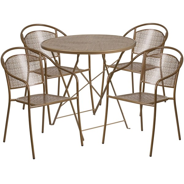Flash Furniture Gold 30 Round Fold Patio 5pc Outdoor Dining Set FLF-CO-30RDF-03CHR4-GD-GG