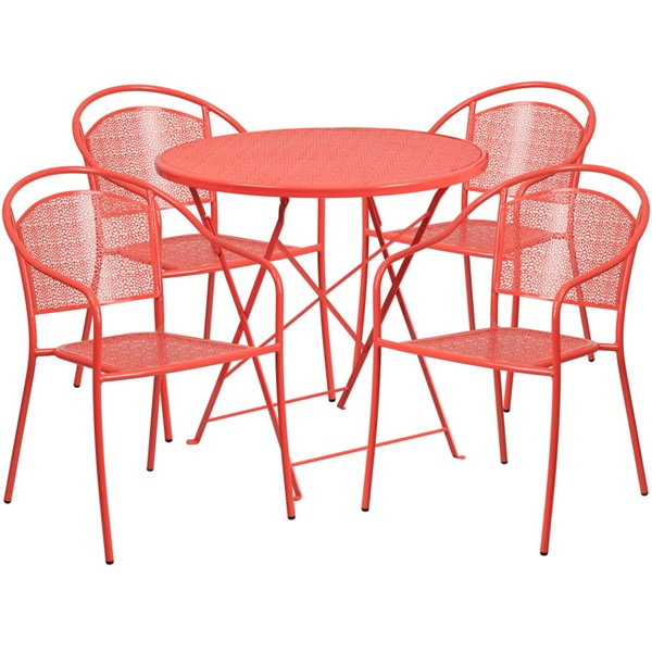 Flash Furniture Coral 30 Round Fold Patio 5pc Outdoor Dining Set FLF-CO-30RDF-03CHR4-RED-GG
