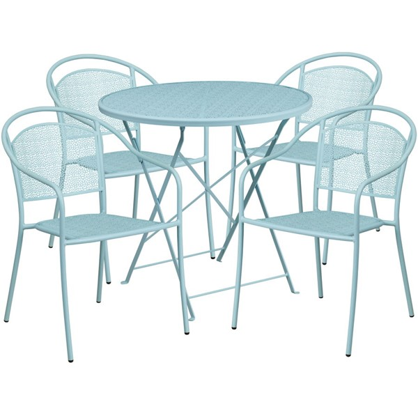 Flash Furniture Sky Blue 30 Round Fold Patio 5pc Outdoor Dining Set FLF-CO-30RDF-03CHR4-SKY-GG