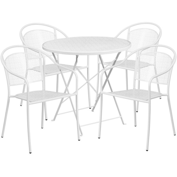 Flash Furniture White 30 Round Fold Patio 5pc Outdoor Dining Set FLF-CO-30RDF-03CHR4-WH-GG