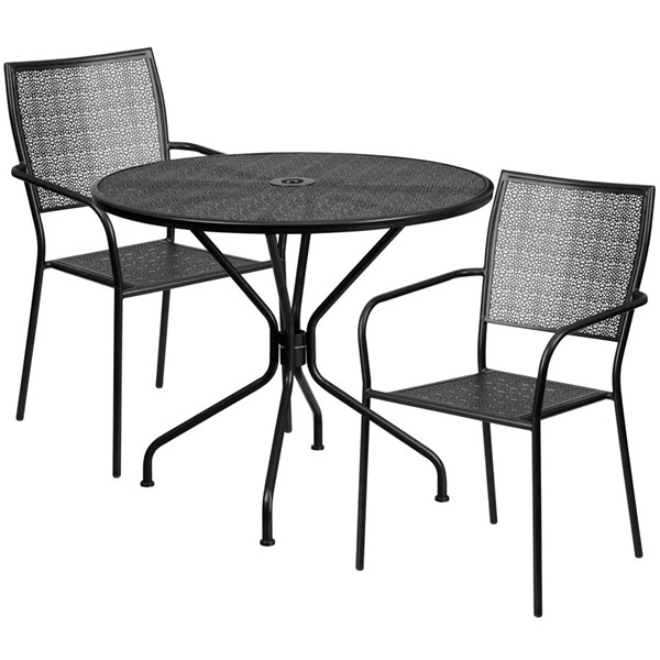 Flash Furniture Contemporary Black Round Patio Table Set FLF-CO-35RD-02CHR2-BK-GG