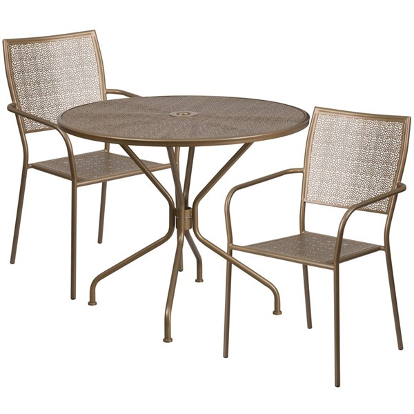 Flash Furniture Gold Round Patio Table Set FLF-CO-35RD-02CHR2-GD-GG