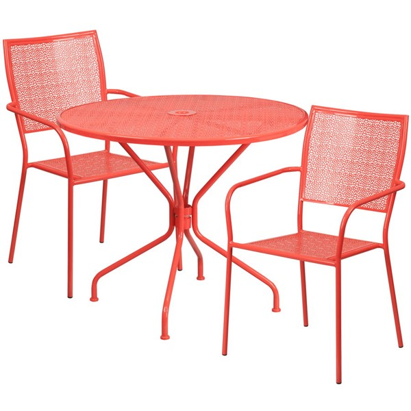 Flash Furniture Coral Round Patio Table Set FLF-CO-35RD-02CHR2-RED-GG
