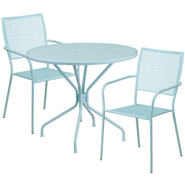 Flash Furniture Sky Blue Round Patio Table Set FLF-CO-35RD-02CHR2-SKY-GG