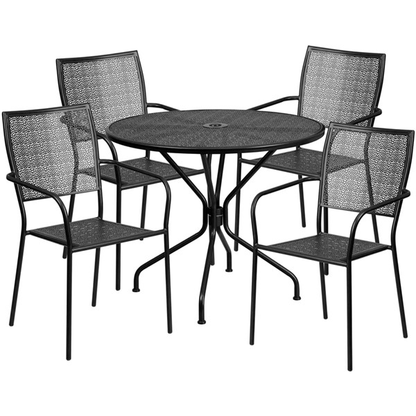 Flash Furniture Round Patio 5pc Outdoor Dining Sets FLF-CO-35RD-02CHR4-GG-OUT-DR-VAR