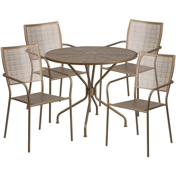 Flash Furniture Gold Round Patio 5pc Outdoor Dining Set FLF-CO-35RD-02CHR4-GD-GG