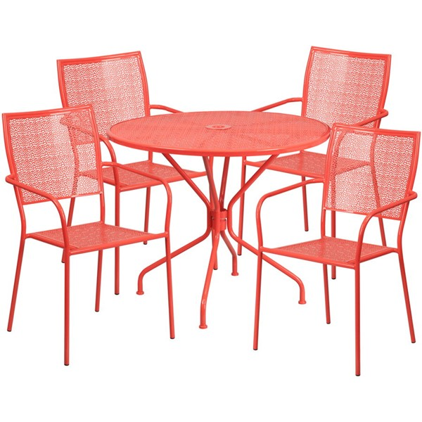 Flash Furniture Coral Round Patio 5pc Outdoor Dining Set FLF-CO-35RD-02CHR4-RED-GG
