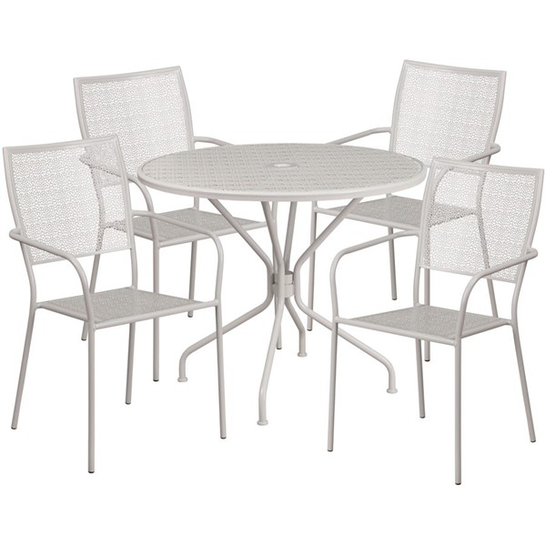 Flash Furniture Light Gray Round Patio 5pc Outdoor Dining Set FLF-CO-35RD-02CHR4-SIL-GG