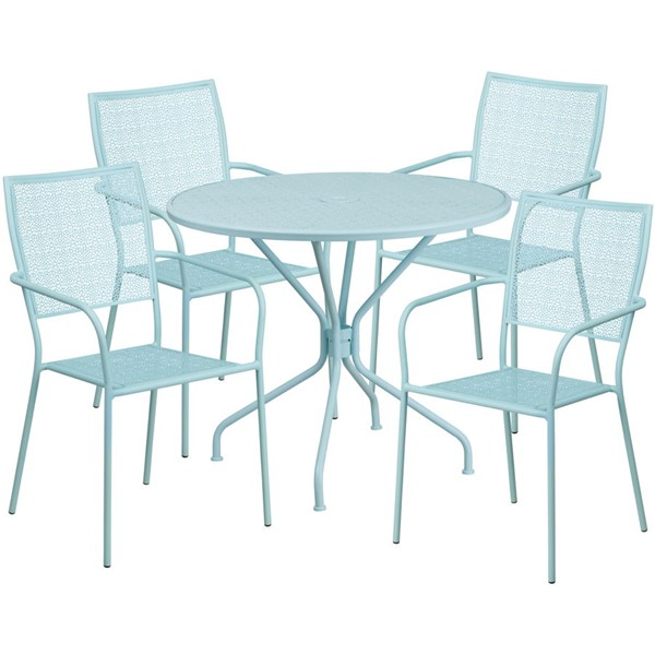 Flash Furniture Sky Blue Round Patio 5pc Outdoor Dining Set FLF-CO-35RD-02CHR4-SKY-GG