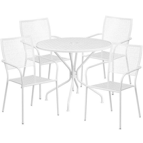 Flash Furniture White Round Patio 5pc Outdoor Dining Set FLF-CO-35RD-02CHR4-WH-GG