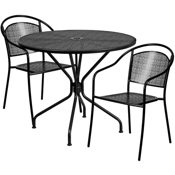 Flash Furniture Black Round Patio 3pc Outdoor Dining Set FLF-CO-35RD-03CHR2-BK-GG