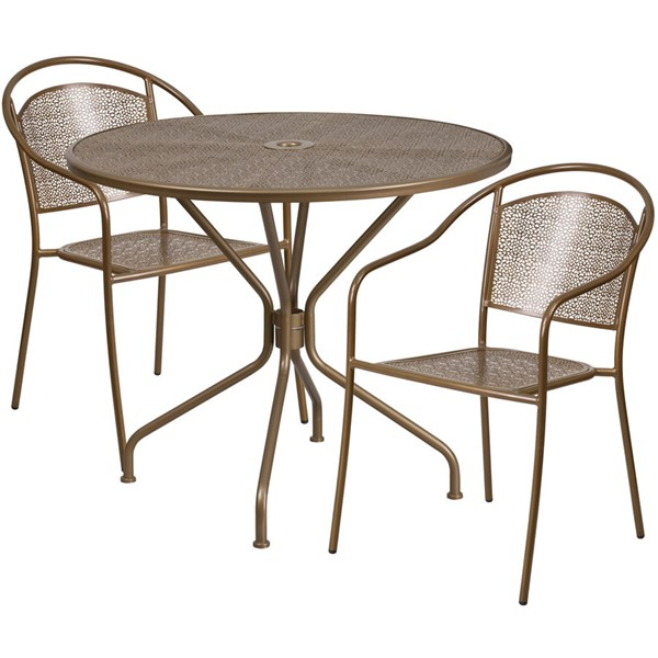 Flash Furniture Gold Round Patio 3pc Outdoor Dining Set FLF-CO-35RD-03CHR2-GD-GG