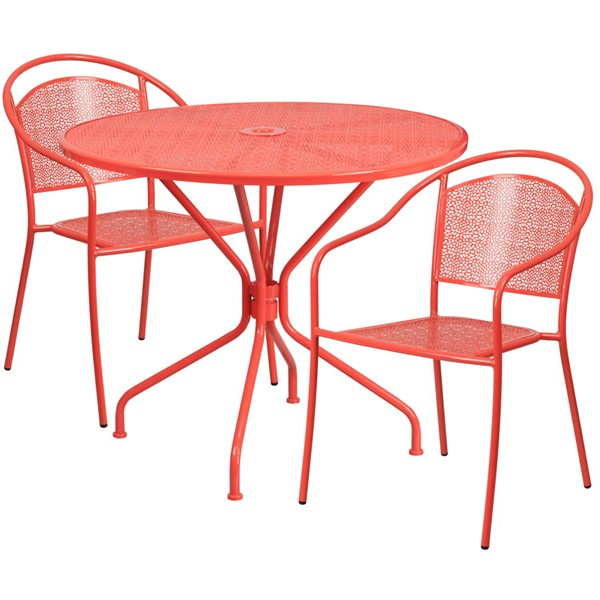 Flash Furniture Coral Round Patio 3pc Outdoor Dining Set FLF-CO-35RD-03CHR2-RED-GG