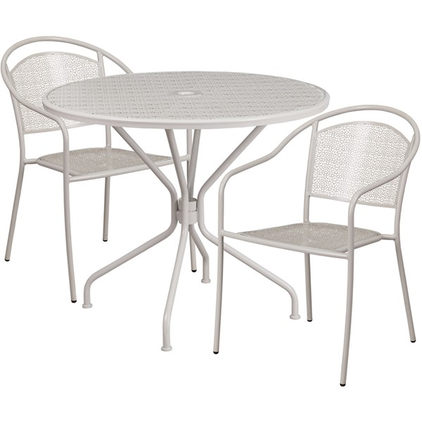 Flash Furniture Light Gray Round Patio 3pc Outdoor Dining Set FLF-CO-35RD-03CHR2-SIL-GG