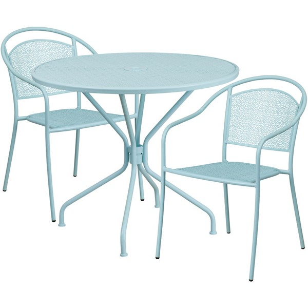 Flash Furniture Sky Blue Round Patio 3pc Outdoor Dining Set FLF-CO-35RD-03CHR2-SKY-GG